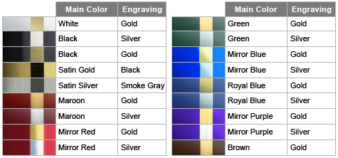 material colors for laser engraved nameplates