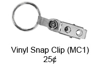 Vinyl Snap Clip with silver split ring