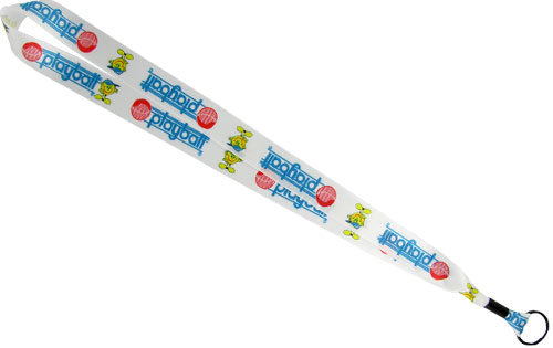 7/8 inch satin ribbon lanyard with full color (dye-sublimated) printing, a metal crimp and attachment fastener.