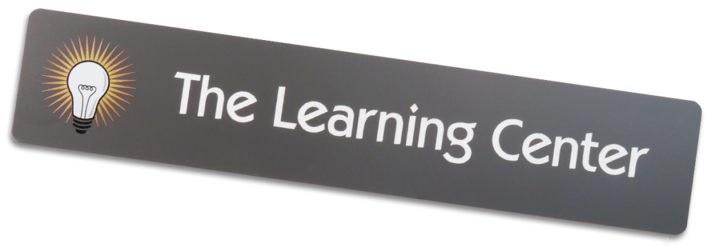 with a title of the learning center on a plastic name plate it can be used nearly anywhere