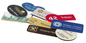 name tags with logos, both engraved and printed