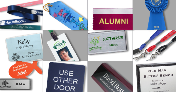 name tags, name plates, custom ribbons and more are all important parts of personal identification