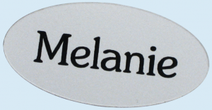 an oval name tag showing the power of personalization