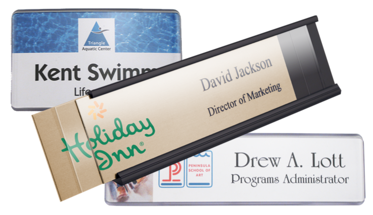 contemporary and reusable name plates, printed for any work environment