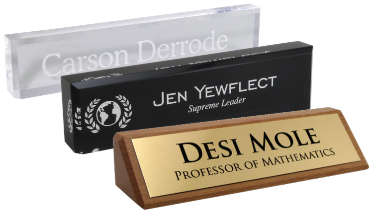 acrylic desk blocks and executive desk wedges, engraved for any work environment