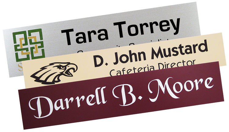 classic and logo name plates, printed and engraved for any work environment