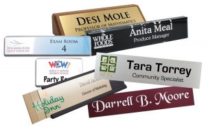 classic, logo, reusable and other name plates from Coller Industries to use in any work environment