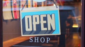 Retail and sales store, shop open sign