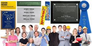 Recognize Achievement with award plaques, rosette ribbons and other personalized products.
