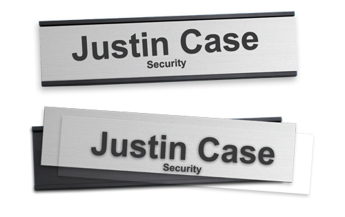 2x8 reusable nameplates with a metal backplate