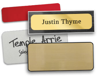 Plastic and metal blank name tags.