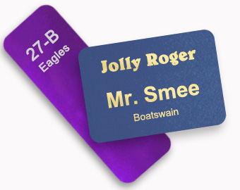metal name tags with a custom size and design