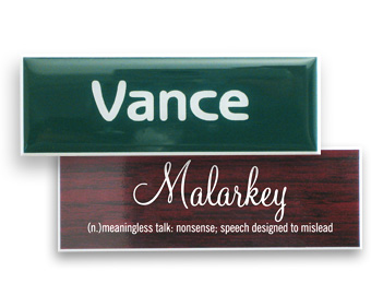1x3 plastic name tags, custom design