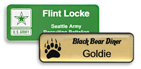 Plastic Name Tags with an engraved logo