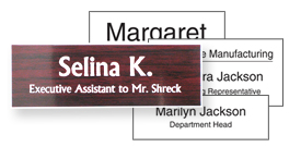 Plastic name tags using a template design