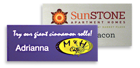 Plastic Name tags with a UV logo