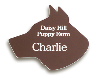 example of dog shaped name tags