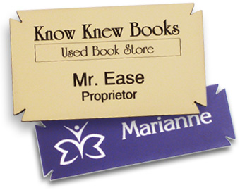 Examples of name tags with notched corners