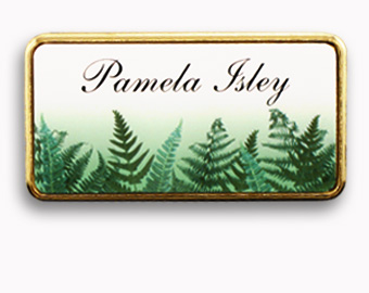 1.5x3 inch full color name tags with the image extending off the edge, and a gold frame
