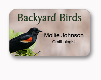 175x3 inch full color name tag, printed background