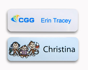 Two 1x3 inch name tags with digital full color printing.