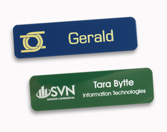 Metal name tags with laser engraved logos, 0.75x2.75 inches