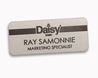 Metal name tags with laser engraved logos, 1.25x3 inches