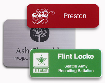 Engraved logos on plastic name tags.