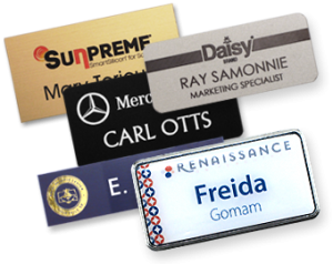 there is no need for the reinvention of name tags when you use a person's name and a corporate logo