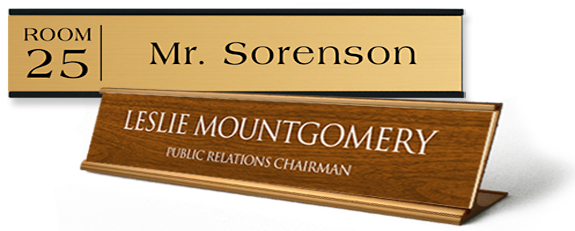 design a name plate for your workplace with names, titles and more
