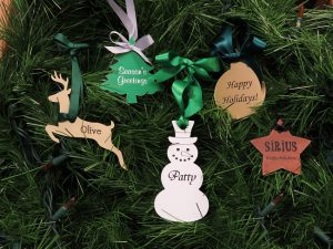custom shaped name tags are a must to keep on hand for all holiday survival kits