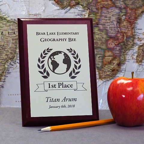 5x7 High Gloss Cherry Finish Value Plaques can be used as a Geography Bee First Place Award