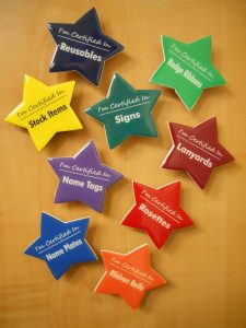 using custom shaped name tags for employee certifications