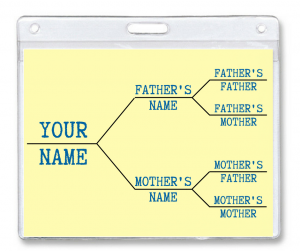 use badge holders for family tree information at your family reunion