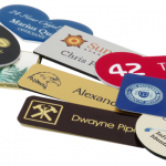 A variety of name tags to show how adding a logo can improve your investment