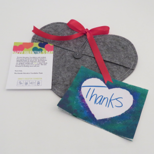 Valentine's Day card from the Granite Education Foundation and a school child