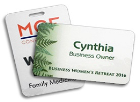 Two full-color Conference Name Tags customized for companies with a tight budget.