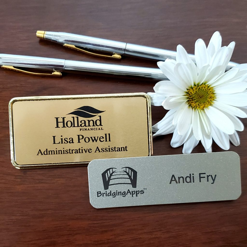 metal high-quality name tags with engraved logos and names