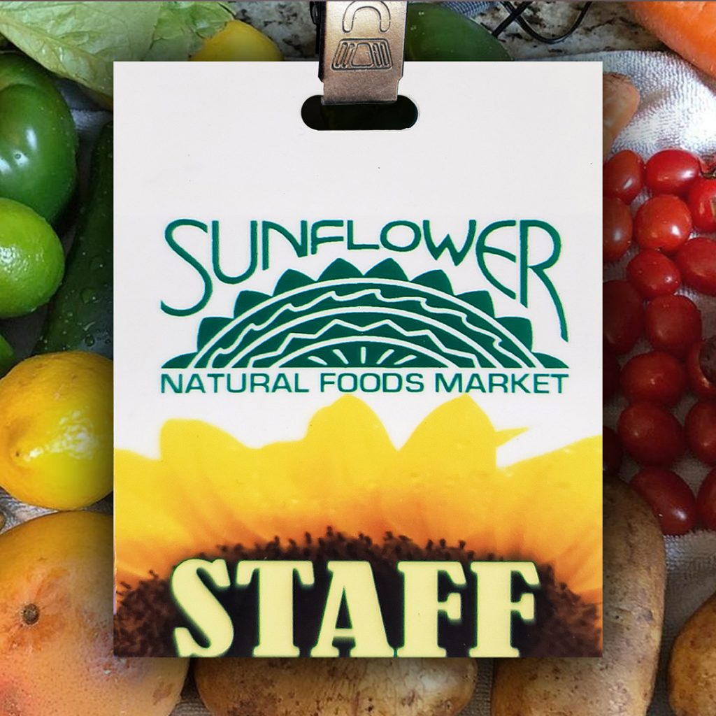 plastic high-quality name tag with full-color printing and a punched slot for use with a lanyard