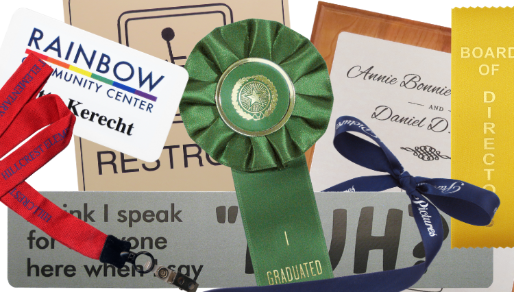 Find any answer to any question about name tags, personalized ribbons and more.