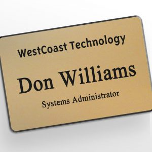 Engraved, gold plastic name tag with a company, name and title for small business identification.