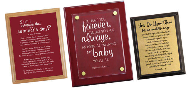Three custom plaques with a message of love to use as gifts for Valentine's day presents.