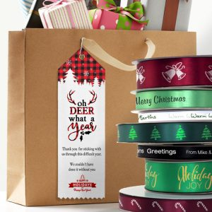 Custom top ribbons and ribbon rolls all themed for celebrations and events for business and family use.